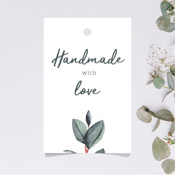 etykietka metka zawieszka handmade with love z dziurką