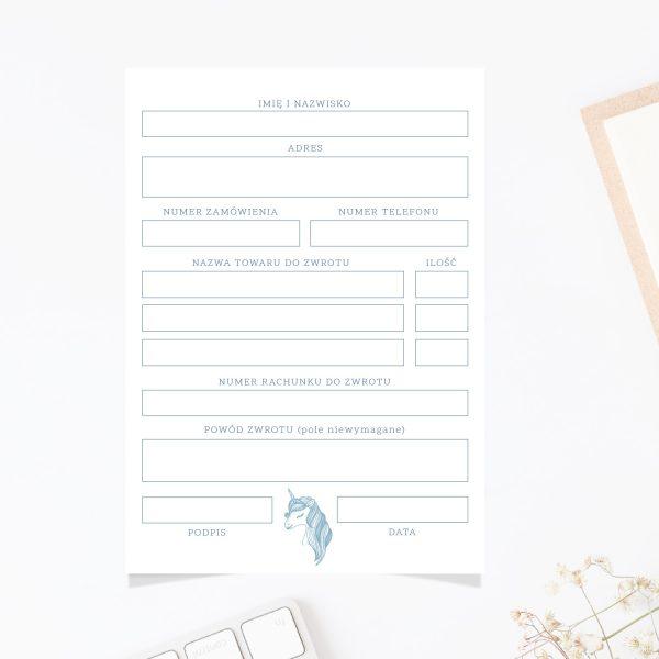 formularz zwrotu zakupów unicorn