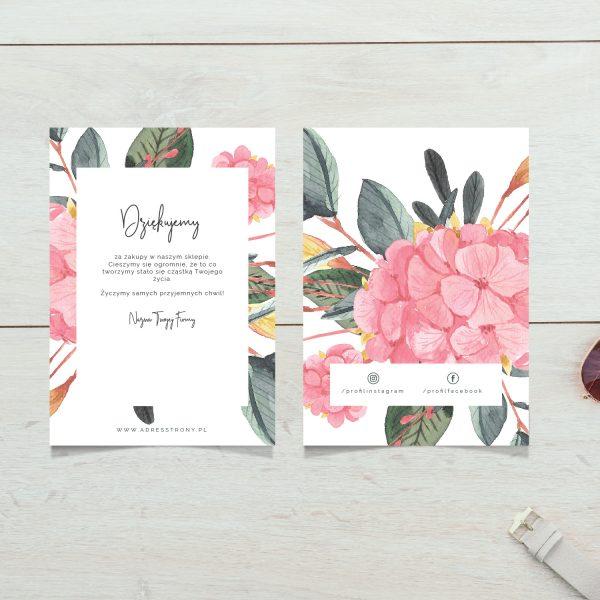podziekowanie za zakupy w sklepie kwiaty dwustronne