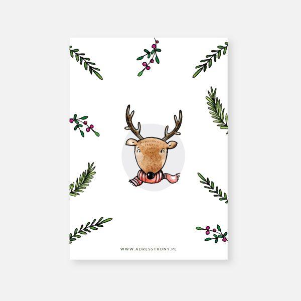 karta z życzeniami boże narodzenie nowy rok jelonek