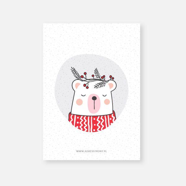 karta z życzeniami boże narodzenie nowy rok ms bear