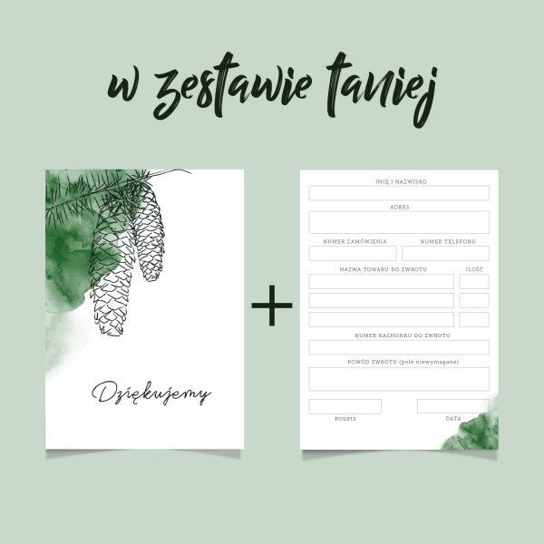 zestaw podziękowanie za zakupy i formularz zwrotu z motywem leśnym