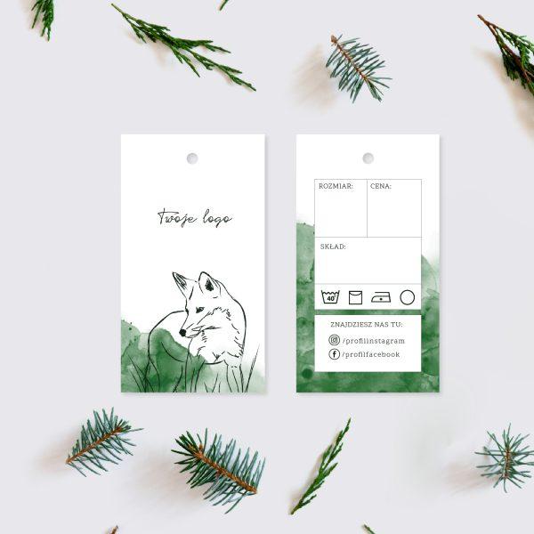 papierowa metka odzieżowa lis las akwarela