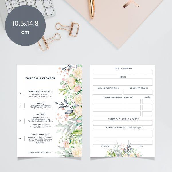 formularz zwrotu zakupów bouquet