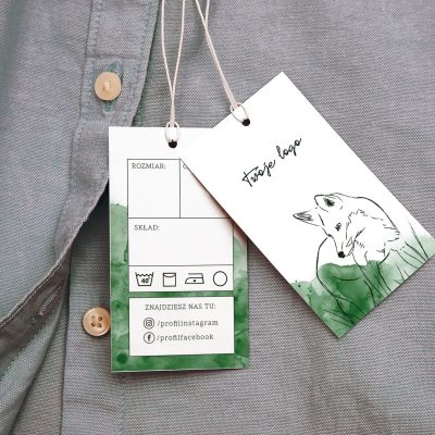 metka odzieżowa z lisem akwarela