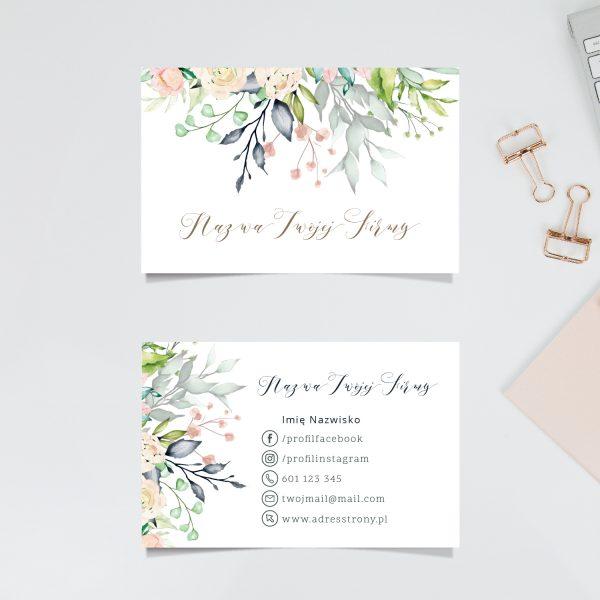 wizytówka z kwiatami gotowy wzór drukarnia
