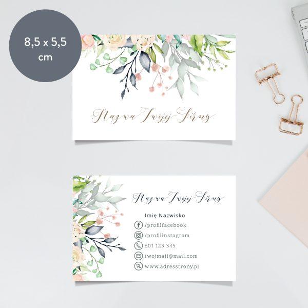 wizytówka z kwiatami gotowy wzór drukarnia rozmiar