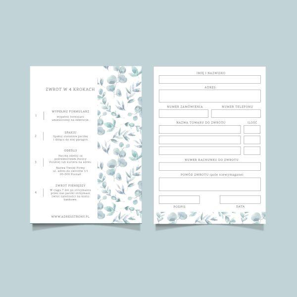 formularz zwrotu towaru eukaliptus gotowy wzór