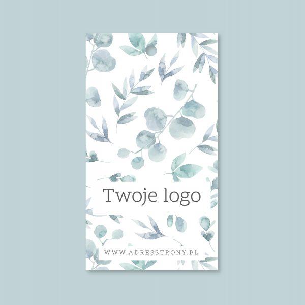metka odzieżowa z logo wzór eukaliptus