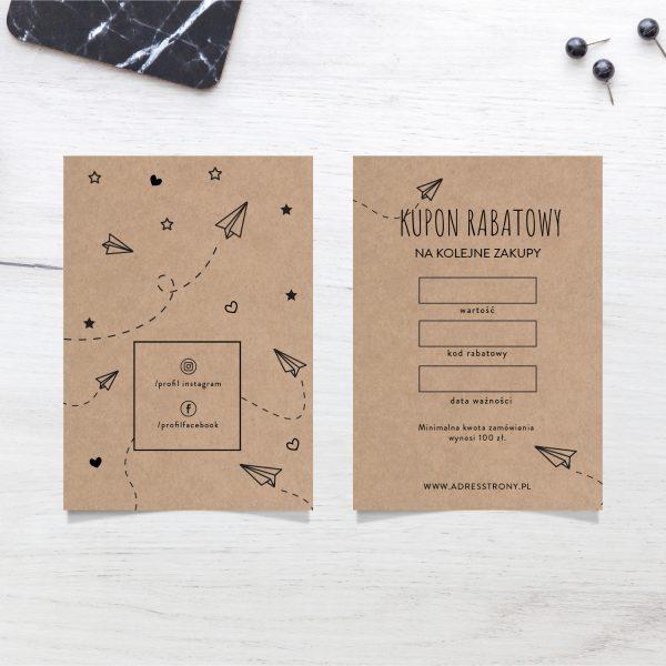 papier recyklingowy brązowy kupon rabatowy