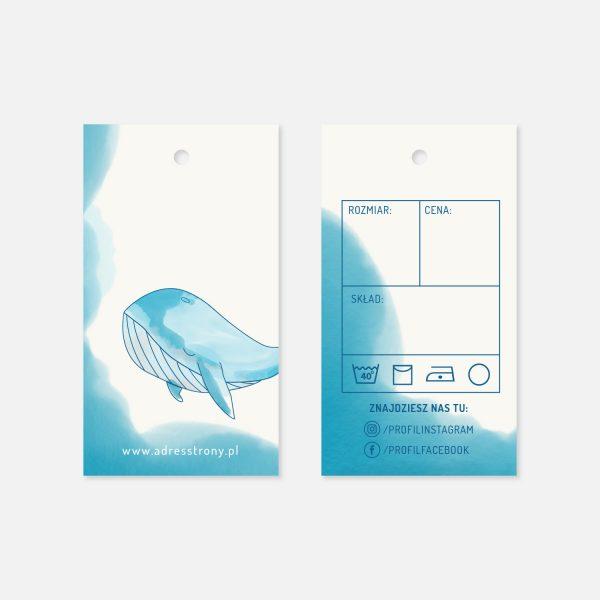 metka do ubrań dziecięcych wieloryb akwarela