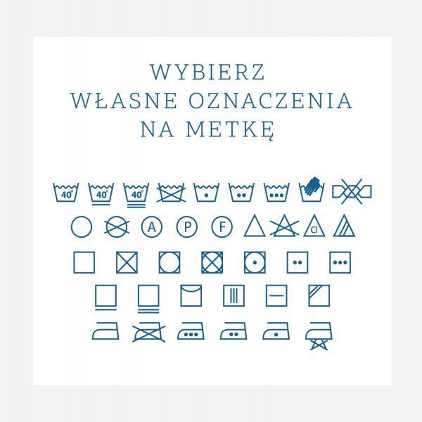 oznaczenia prania i konserwacji na metkę dziecięcą
