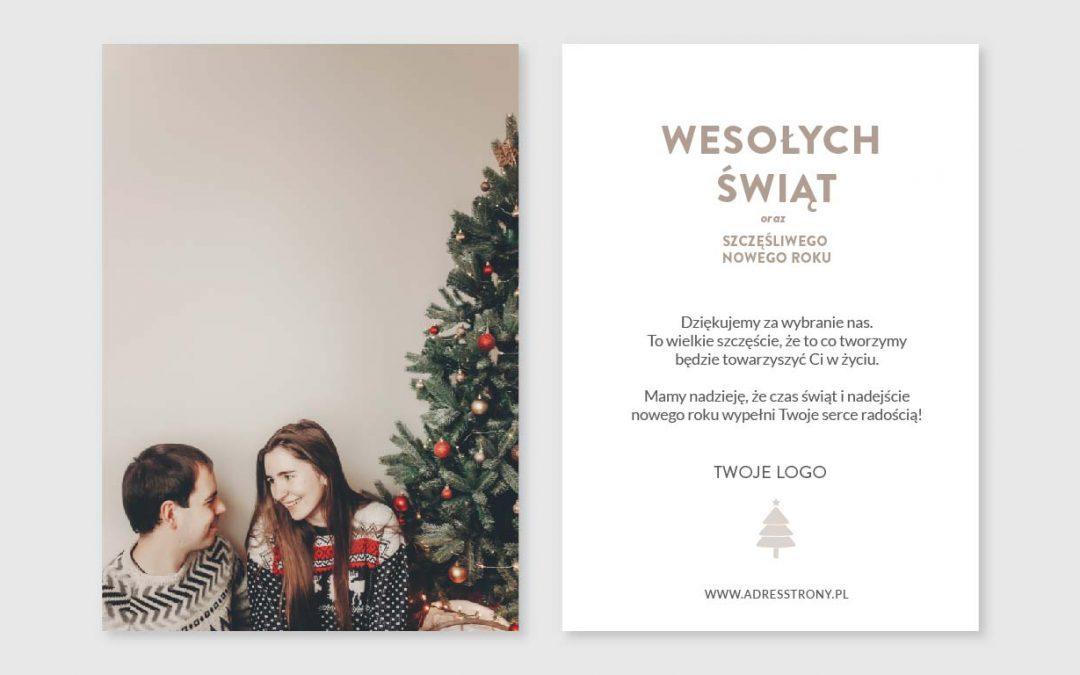 Kartki świąteczne dla firm ze zdjęciem i logo
