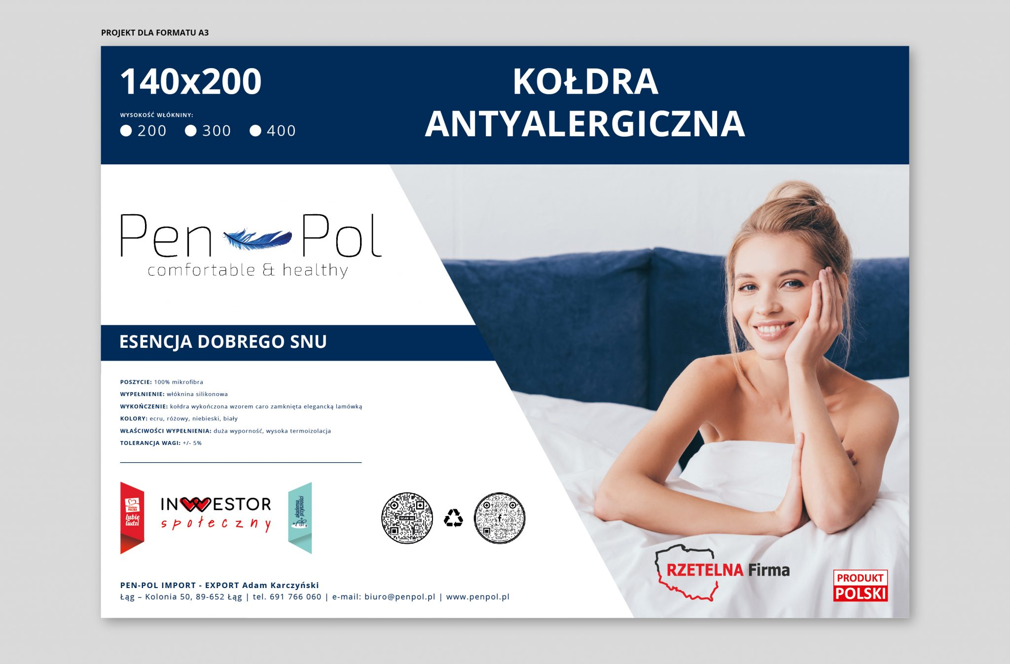 Projekt etykiety kołdry antyalergicznej Pen-Pol
