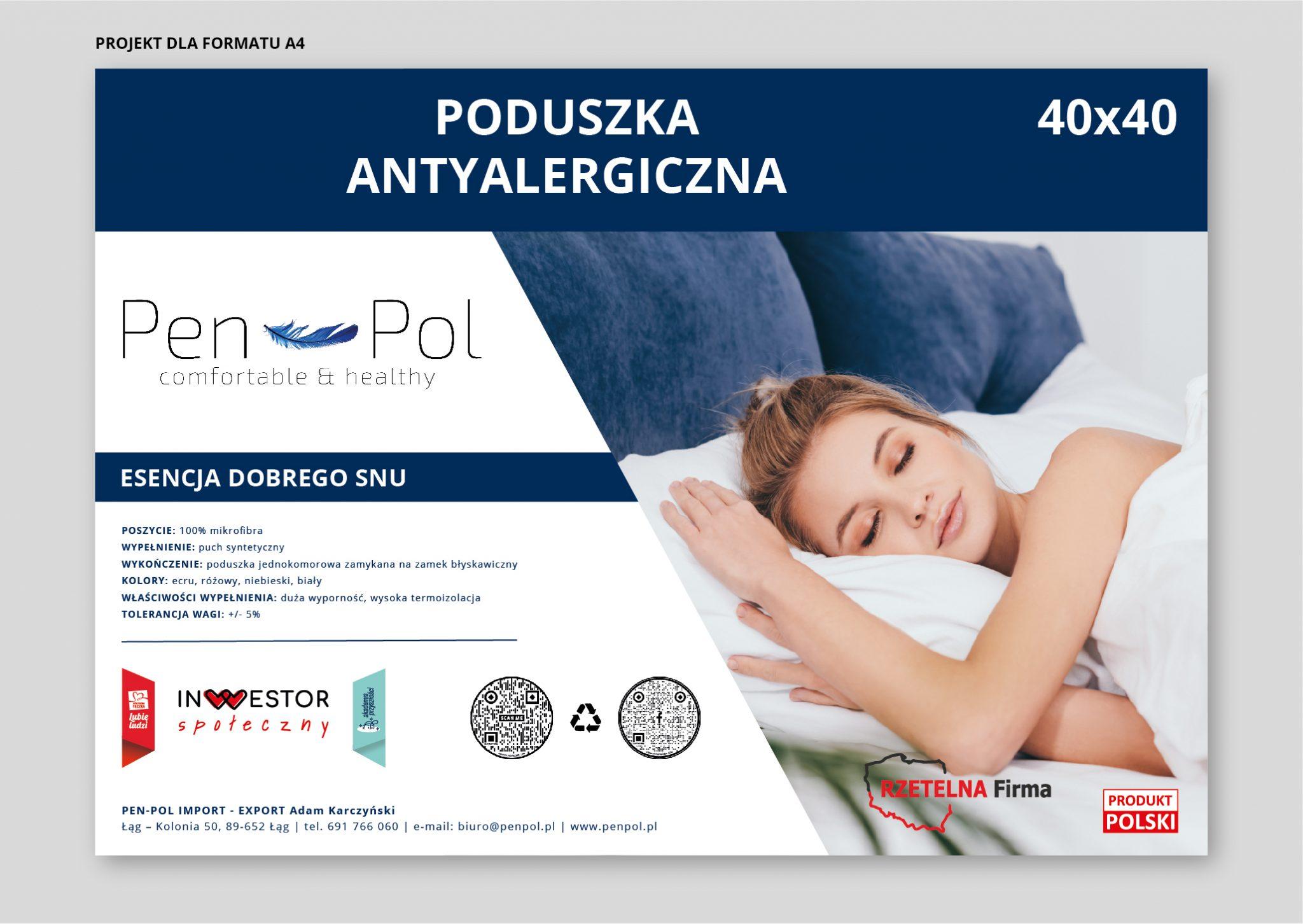 Projekt etykiety poduszki antyalergicznej Pen-Pol
